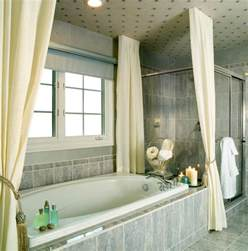 cool bathroom design idea using marble bathtub and curtain color also vintage