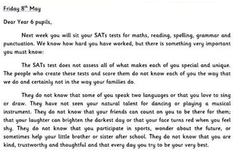 Parent Letter Before Testing The Viral Letters All Should Read Before Taking Their Exams Goodtoknow
