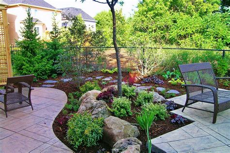 Small Trees To Plant Near House by Charming Backyard Landscaping Decorated A Small Tree Rocks