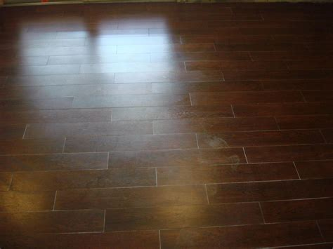 wood tile floor set on thirds to mimmic a wood floor layout new