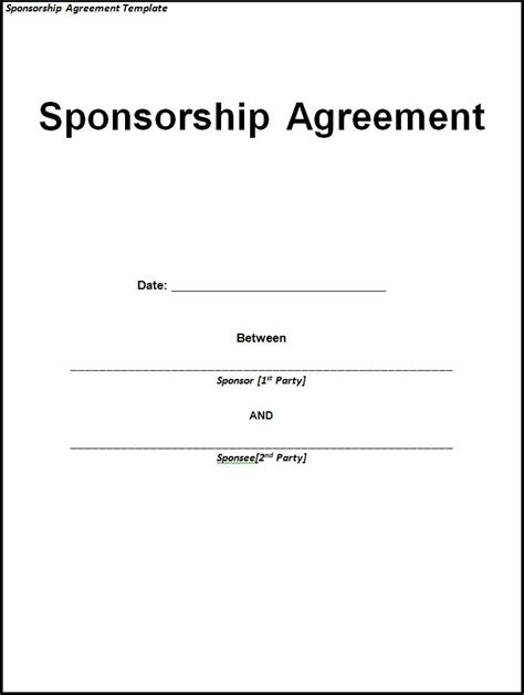 Sponsorship Agreement Template Free Word Templatesfree Word Templates Sponsorship Agreement Template