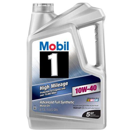 mobil 1 10w40 mobil 1 10w 40 high mileage synthetic motor 5 qt