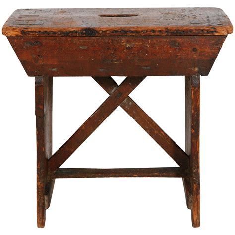 small wooden stool table primitive pine stool small bench at 1stdibs