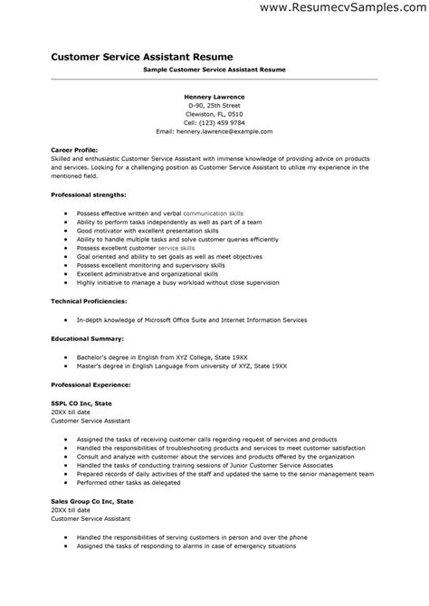 Resume Template On Customer Service Resume Format Roiinvesting