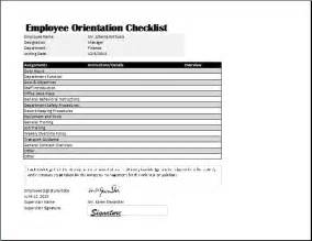 New Employee Orientation Template by Employee Orientation Checklist Template Word Excel