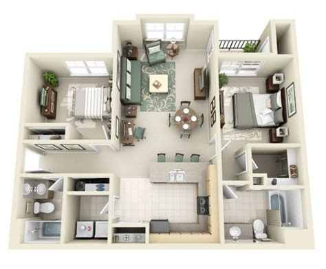 plan appartement 2 chambres idee plan3d appartement 2chambres 26