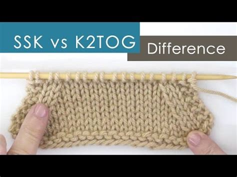 what does ssk stand for in knitting k2tog videolike