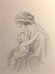 100 handmade pencil drawing virgin mary and jesus catholic