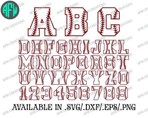 printable baseball numbers baseball letters numbers softball svg dxf eps cut