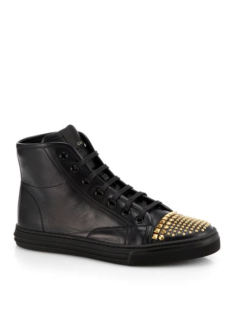 hightop shoes for gucci cali leather studded cap toe high top sneakers in