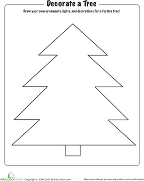 decorate your own christmas tree worksheet coloring decorate a tree worksheet education