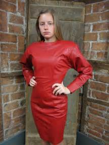 vintage 1980s red leather dress tight wiggle by missionmod