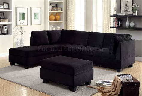 black fabric sofa lomma sectional sofa ottoman set cm6316 in black fabric