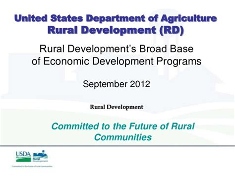 united states department of agriculture rural development 9 20 12 accessing usda rural development programs for