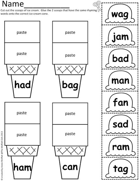 printable ice cream word games cvc scoops cut and paste some ice cream fun word work