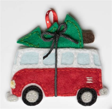 felt vw pattern volkswagen bus with christmas tree ornament pdf pattern
