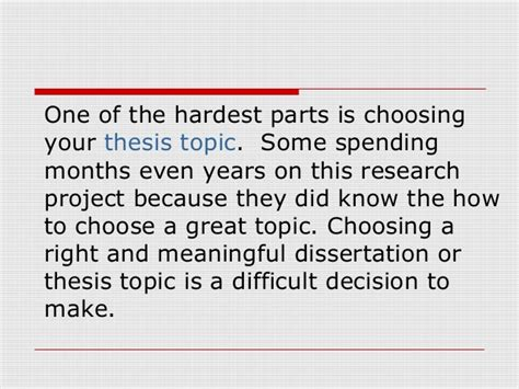 how to choose a dissertation topic selecting thesis topic