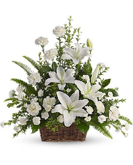 Peaceful White Lilies Basket Flowers, Peaceful White Lilies Basket Flower Bouquet   Teleflora.com