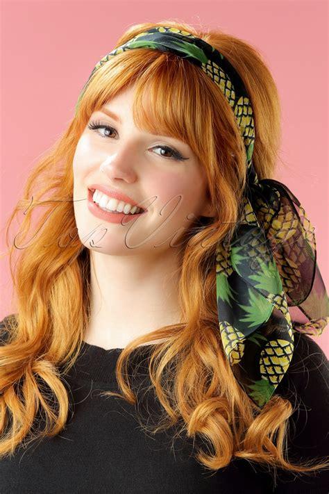 76 best vintage hair pretties images on hair 50s fruity pineapple hair scarf in black