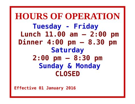 hours of operation template hours thai cuisine
