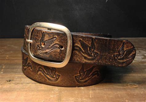 leather belt sparrow vintage aged leather belt embossed