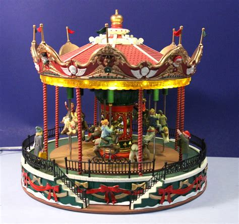 lemax carnival santa carousel animated lighted amusement