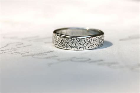 mens wedding band ring simple silver wedding by