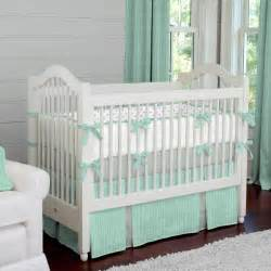 Mint Herringbone Crib Bedding Neutral Baby Bedding How Big Is A Baby Crib