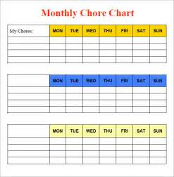 monthly chore calendar template sle chore chart 9 documents in word excel pdf