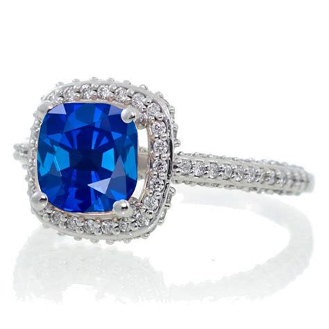 1 5 carat cushion cut designer sapphire and halo