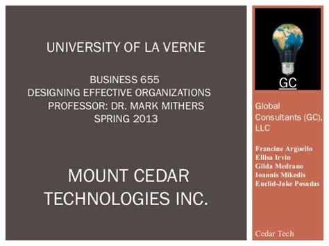 Of La Verne Mba by Global Consultants Presentation 1