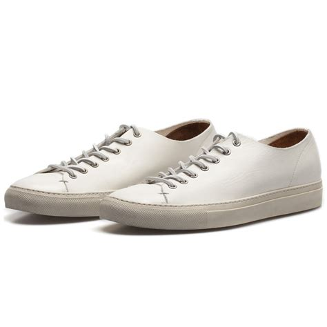 mens white leather sneakers buttero white leather tanino low profile sneakers in white