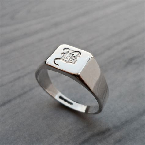 personalised square initial silver signet ring