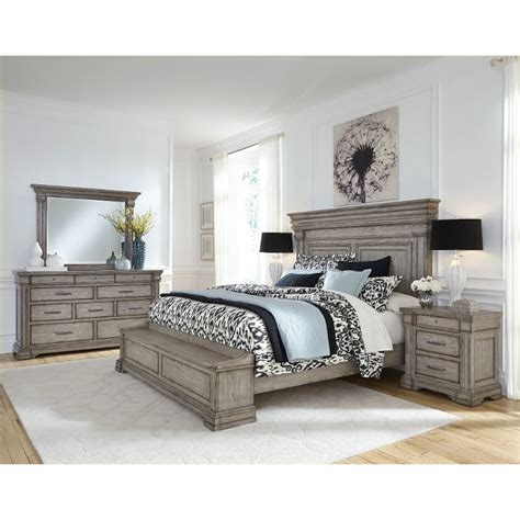classic traditional gray  piece queen bedroom set madison ridge rc willey furniture store