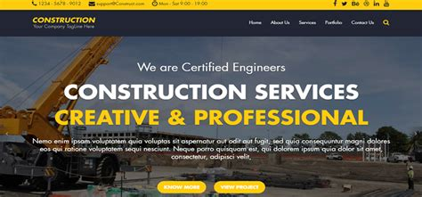 Construction Free Html Bootstrap Template Bootstrap Themes Free Construction Website Templates Bootstrap