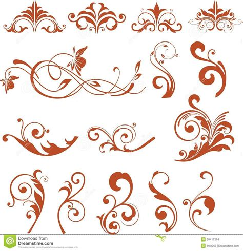 vintage floral elements for design vector stock vector floral design elements vector flower icons stock images