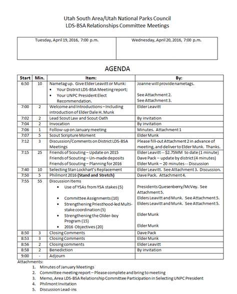 Lds Agenda Template
