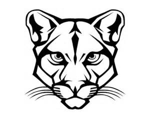 Black And White Cougar Head Logo Sketch Coloring Page sketch template