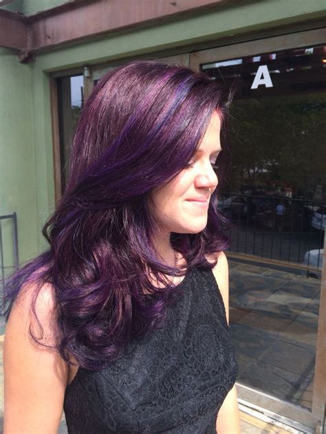 black amethyst hair color cosmic bunny eggplant base with bright violet and pops of