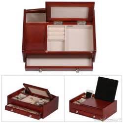 wooden jewelry organizer box dresser top valet storage