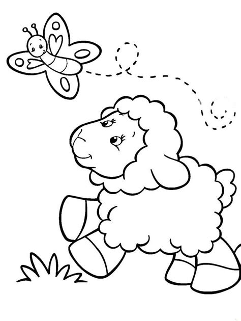 baby sheep chasing butterfly coloring pages sheep