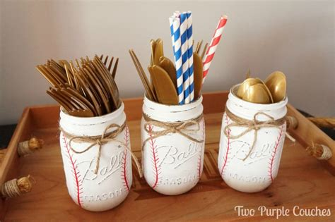 Baseball Themed Baby Shower by Diy Painted Baseball Jars Two Purple Couches