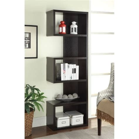 coaster semi backless bookcase in cappuccino 800069