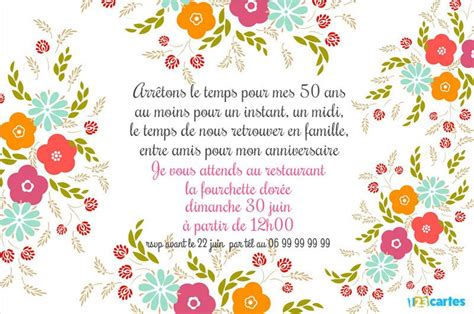 Decoration Anniversaire Adulte 50 Ans by Invitation Anniversaire 50 Ans D 233 Coration Florale Modeste