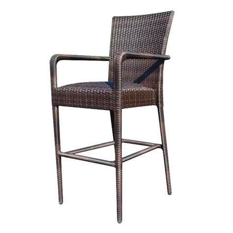 All Weather Bar Stools by Woodard All Weather Wicker Padded Seat Bar Stool S593089