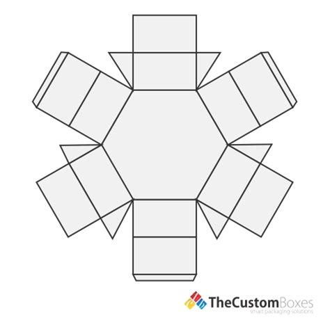 Hexagon 2 Pc Boxes Hexagon 2 Pc Packaging And Printing Hexagon Box Template