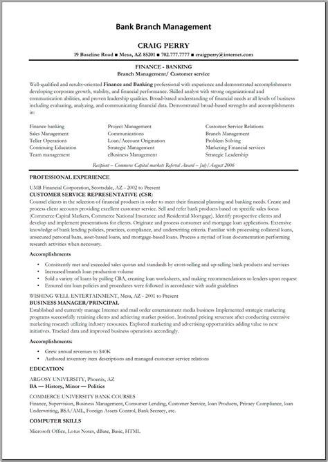 sle resume for csr with no experience resume sle for in bank teller resume sle 28 images sle