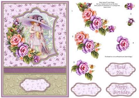 Free Decoupage Downloads For Card - big hat card topper with floral decoupage cup431178
