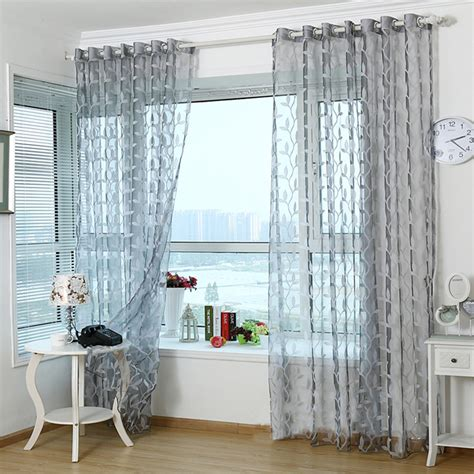 Grey Curtains For Living Room Aliexpress Buy 3d Tulle Sheer Curtains For Living Room Light Grey Leaves Window Curtain