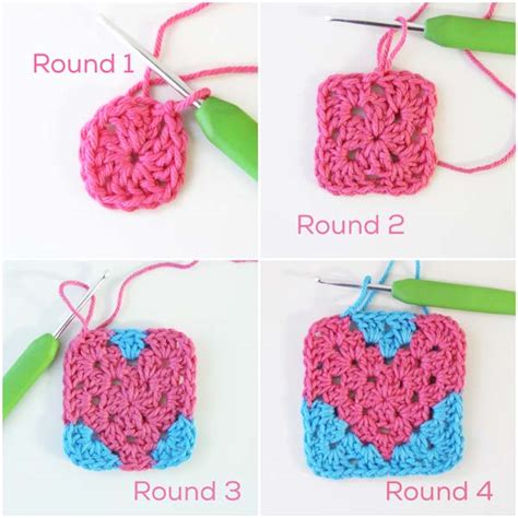 crochet hat patterns using magic circle squareone for crochet heart pattern free granny square tutorial by